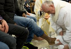 Pope Francis washed the feet of 12 young inmates of different nationalities and religious backgrounds during a Holy Thursday ritual. (Photo: Osservatore Romano via AFP-Getty Images; story: @NBC News)