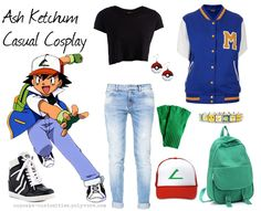 Ash Ketchum from Pokemon Casual Cosplay Without the earrings or backpack. converse instead.