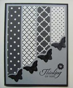 Lynn's striking black & white butterfly card uses the Modern Medley dsp and the Bitty Butterfly punch.