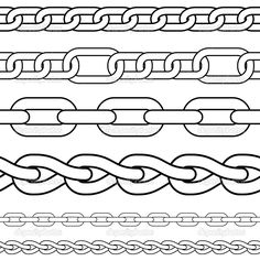 Set of seamless vector borders. Jewellery Sketches, Jewelry Drawing, Stencil Designs, Designs To Draw, How To Draw Chains, Chain Tattoo, Vector Border, Sketch Tattoo Design, Bookmarks Kids