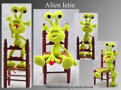 Häkelanleitung, Alien, gehäkelt - PDF/ E-book von Kunterbunte Häkeltiere auf DaWanda.com