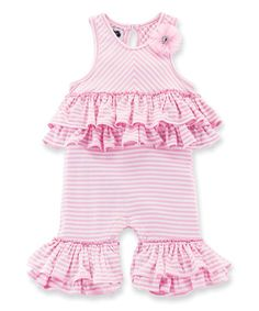 Another great find on #zulily! Pink Ruffle Playsuit - Infant #zulilyfinds