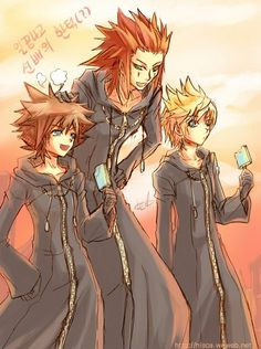 Sora, Axel and Roxas. Kingdom Hearts 358/2 Days. Fan art.
