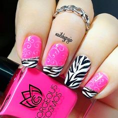 Zebra print nail design ideas to go wild and trendy from tip to toe. Learn how to create zebra nails and choose the nail art that resonates in you best. Pink Zebra Nails, Zebra Print Nails, Cute Pink Nails, Pink Nail Art, Pretty Nails, Rocker Girl, Finger, Diva Nails, Healthy Nails