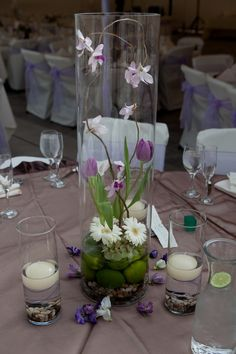 love the terrarium idea - a natural contemporary centerpiece in purple, cream and brown accents