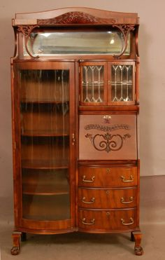 Incredibly Gorgeous Art Nouveau Desk & Glass Secretary Cabinet Circa 1900 That Would Be Particularly Great For Showcasing Your Favorite Bags! Victorian Furniture, Victorian Decor, Victorian Homes, Victorian Era, Antique Furniture, Furniture Decor, Antique Couch, Furniture Online, Furniture Outlet