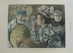 062wine: The Graphic Dec. 12, 1896. A Tasting Order at the London Docks: Fair Visitors to the Vaults hand colored