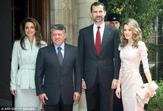 Rania with her husband, Jordan's King Abdullah and Letizia with Crown Prince Felipe