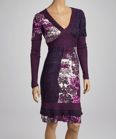 I love purple Take a look at this Fashion Fuse Purple & White Floral V-Neck Dress on zulily today!