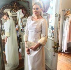 Vintage wedding dress velvet fur Lili Vintage New Orleans