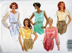 Butterick 6598, Misses Size 6,8,10 Classic Pullover Tops Pattern, Scalloped Neckline, Rounded V Neckline, Sleeveless, Short or Long Sleeve by OnceUponAnHeirloom on Etsy