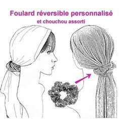 Foulard chimio REVERSIBLE personnalisé, plus de 100 tissus au choix !
