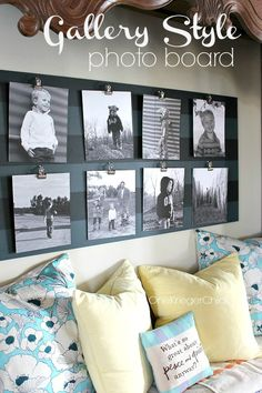 Striped Gallery Photo board with reversible photos- Awesome idea!  - really easy - paint a board (she applied tape and painted stripes) applied a modgepodge or clear protectant - then attached 8 clips.  Finally a doable DIY  :)