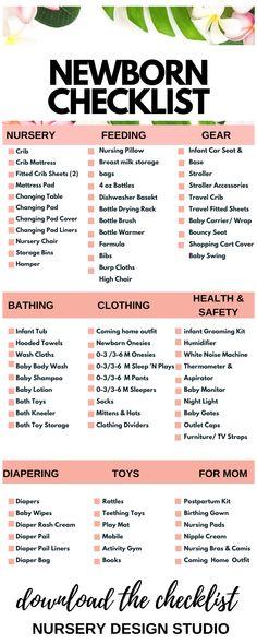 New Baby Checklist, Baby Checklist Newborn, Newborn Baby Essentials, New Baby Essentials List, Baby Shower Checklist, Hospital Bag Checklist, Newborn Baby Tips, Baby Baby, Things For Newborn Baby