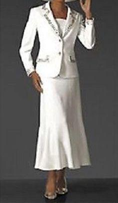 Mother Of bride Groom Wedding Evening White Women's dress Skirt Suit size 16 L #SkirtSuit