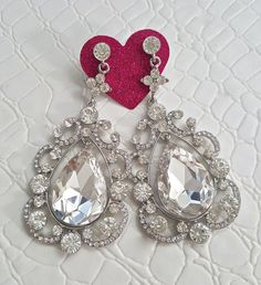 Fast Shipping using First Class Mail Most packages arrive in 2-5 business days!  Amazing sparkling Rhinestone Earrings  Perfect for formal occasions and holiday parties  About 8.5cm long