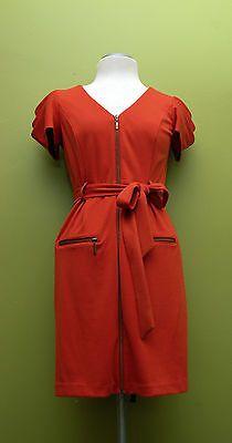 Jessica Simpson Zip Front Tie Waist Roobius Tea Color Zip Pocket Dress