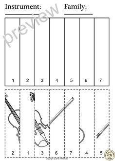 This resource contains three set of activities (coloring pages and puzzles) to help your students recognize and learn names of String family instruments. Instruments included: Violin Viola Cello Double bass Harp Guitar Lute Mandolin Banjo and Zither. Music Class, Music Education, Music Lessons For Kids, Music Gadgets, Music Worksheets, School Closures, Double Bass, Student Reading, Elementary Music