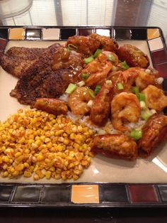 Shrimp Bisque with Blackened Swai Fish and Spicy Corn.