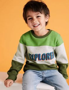 Cotton Explorer Slogan Boucle Sweatshirt (2-7 Yrs) | M&S Sparkle Decorations, Color Blocking, Colour Block, Travel Money, London Spring, Warm Coat, Stripes Design, 6 Years, Slogan