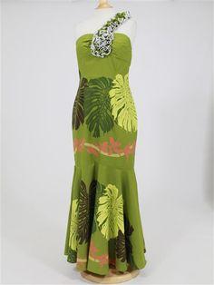 May One Shoulder Lei Dress [Monstrera / Dark Green] - Hula Supply | AlohaOutlet SelectShop