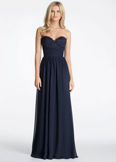 Hayley Paige Occasions bridesmaids dress - (Left) Indigo chiffon strapless A-line bridesmaid gown, sweetheart neckline with lace detail and draped waistband, natural waist with gathered skirt. Gold Bridesmaid Dresses, Bridesmaids And Groomsmen, Wedding Dresses, Strapless Dress Formal, Formal Dresses, Hayley Paige, Wedding Colors, Wedding Ideas, Special Occasion Dresses
