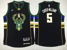 Milwaukee Bucks #5 Carter-Williams Black Men 2017 New Logo NBA Adidas Jersey