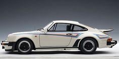 """Porsche 911 3.0 Turbo White with """"Martini"""" Stripes 1:18 Scale Diecast"""