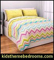 stripes - squares - circles decorating ideas - candy stripes for girls bedrooms - bold stripe patterns for boys bedrooms - stripes wall stickers stripes themed room - Striped Bedding - chevron zig zag