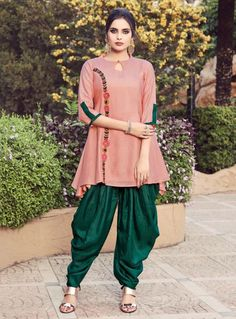 Old Rose Readymade Dhoti Salwar Kameez Kurti Neck Designs, Dress Neck Designs, Salwar Designs, Dhoti Salwar Suits, Salwar Kameez, Patiala, Punjabi Suits, Fancy Kurti, Pakistani Dress Design