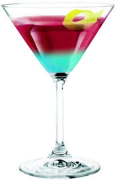 """Roman Candle"" 3 oz. Berry Vodka 1/2 oz. Cranberry Juice Dash of Grenadine 1/2 oz. blue Curacao Shake and strain vodka, juice grenadine into cocktail glass. Drizzle Blue Curaçao down side of glass. Garnish with lemon twist."