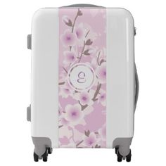 Floral Dusky Pink Cherry Blossoms Monogram Luggage - floral style flower flowers stylish diy personalize