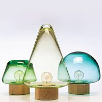Lamps in the shape of trees made of glass and oak  - Skog by Caroline Olsson for Magnor Glassverk