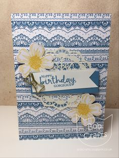 Bob crafts: Delicate details birthday card #stampin up #marina mist #birthday card