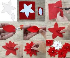 Best 12 DIY Christmas Poinsettia Felt Wreath « Simple, Sweet, and Southern – SkillOfKing. Christmas Projects, Felt Crafts, Holiday Crafts, Diy And Crafts, Arts And Crafts, Holiday Decor, Poinsettia Flower, Christmas Poinsettia, Christmas Crafts
