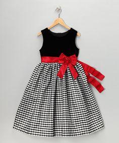 Loving this Black & Red Velvet Gingham Dress - Girls on #zulily! #zulilyfinds