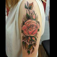 Added to Kayleighs sleeve today.  More largely rose pieces welcome!  #rosetattoo #neotraditional #inkig #tattooartworldwide #uktta #ukbta #neotradsub #bestofbritish #uktattooartists #tattooartworldwide #underground_tattooers #supportgoodtattooers #nevermore #colourtattoo #inkedgirls #oldlines #newtraditionalist