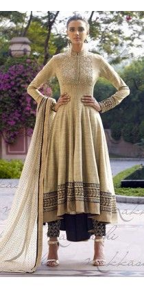 Lush Beige Khadi Embroidered Salwar Kameez #http://shreemadhufashion.com