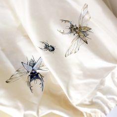 Silk Skirt handpainted ecru bugs pattern