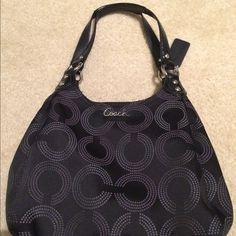 Coach purse Gently used Black Coach purse!  Great purse with a cute coach pattern! Coach Bags Shoulder Bags