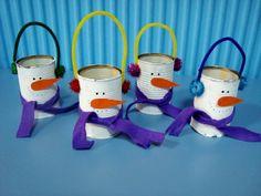 Tin can craft - Snowman Tin Can Crafts, Great Schools, Nursery School, Xmas Ideas, Snowman, Christmas Decorations, Holidays, Mugs, Tableware