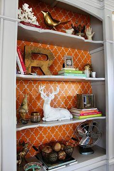 DIY-Bookshelf Makeover- used painted cardboard on back of shelves