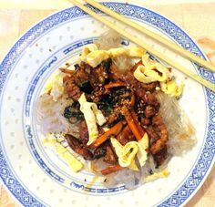 Wat ik gegeten heb: Japchae (Tjap Tjoi) Koreaanse salade met noedels v...