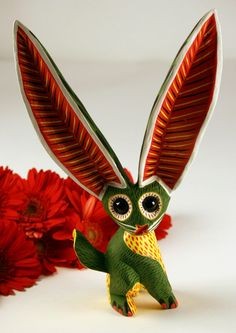 Long Earred Rabbit - Green Oaxacan Wood Carving