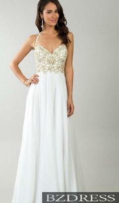 White Formal Dress With Gold Detail
