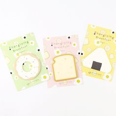 Energizing Breakfast Sticky Memo Pads Egg Toast Onigiri