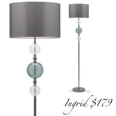 New winter style promotions  Ingrid floor lamp in black nickel metalware and gray taffeta shade. www.bitolalighting.com.au #bitolalightingandfans