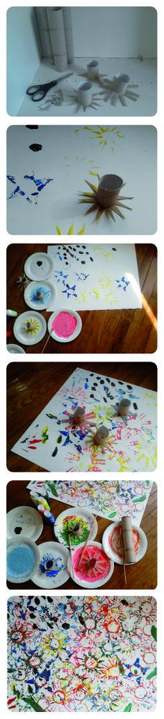 Je ne jette plus les rouleaux de papier wc, mais j'en fais des empreintes de fleurs pour la peinture et les enfants adorent !