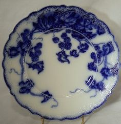 JOHNSON BROTHERS china KENWORTH Flow Blue pattern Luncheon Plate 8 7/8""