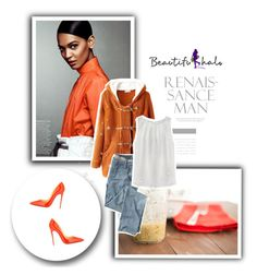 Beautifulhalo by sabine-rose on Polyvore featuring Wrap, Christian Louboutin, women's clothing, women's fashion, women, female, woman, misses, juniors and orange